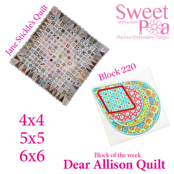 Dear Allison quilt block 220 in the 4x4 5x5 6x6