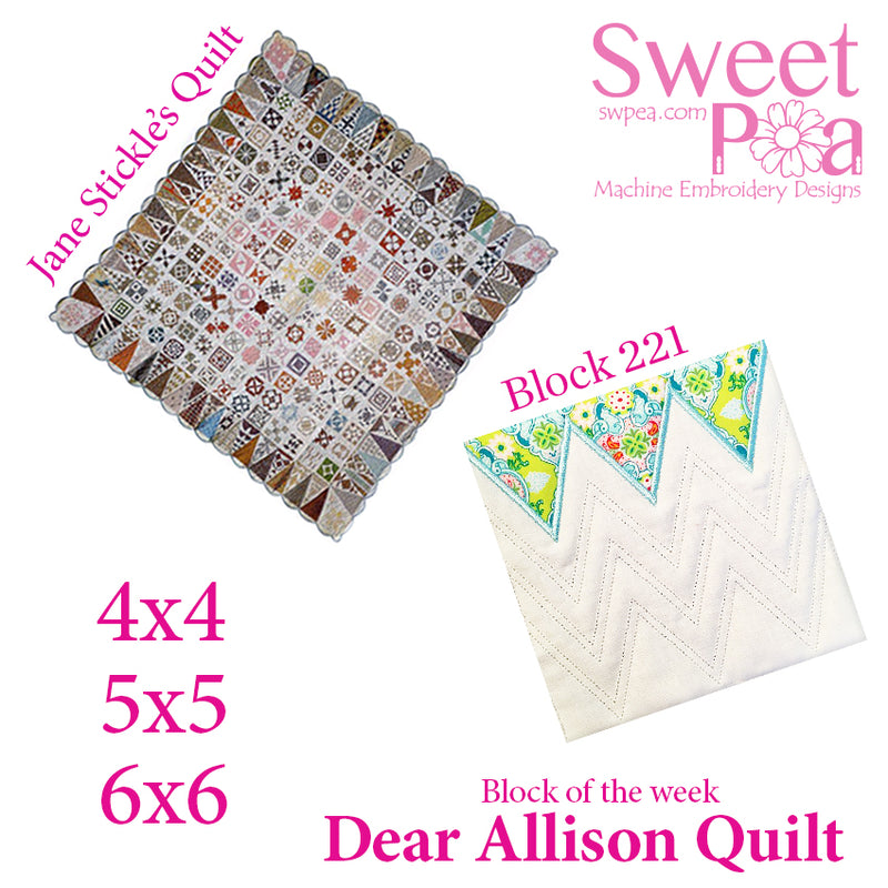 Dear Allison quilt block 221 in the 4x4 5x5 6x6
