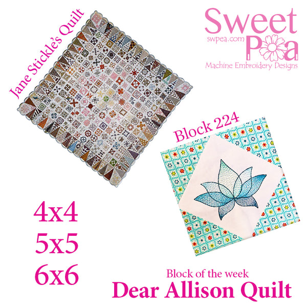 Dear Allison quilt block 224 in the 4x4 5x5 6x6