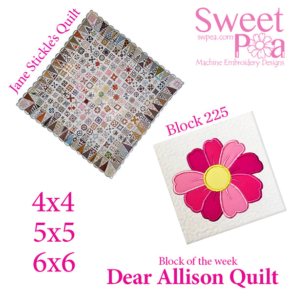 Dear Allison quilt block 225 in the 4x4 5x5 6x6