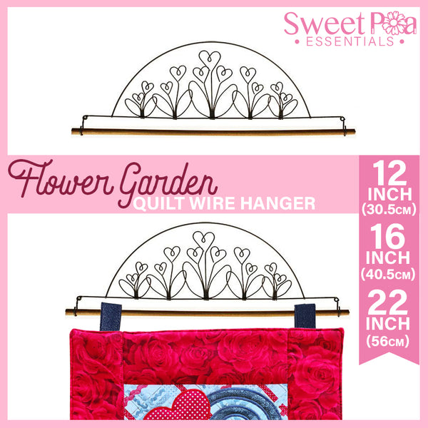 Flower Garden Quilt Wire Hanger 12in, 16in, or 22in