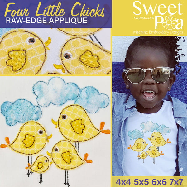 Four Little Chicks Raw-Edge Applique Design 4x4 5x5 6x6 7x7
