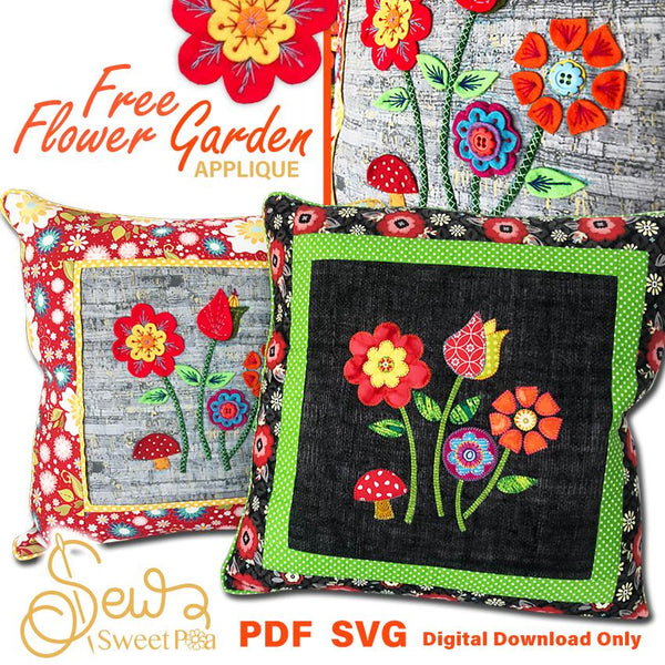Free Applique Pattern - Sewing Pattern Flower Garden Applique Sew Sweet Pea