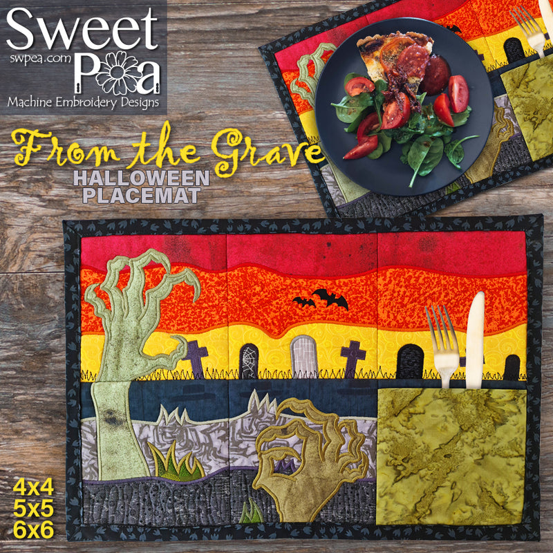 From the Grave Halloween Placemat 4x4 5x5 6x6