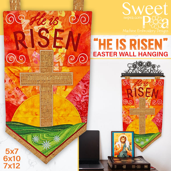 """He is Risen"" Wall Hanging 5x7 6x10 7x12"