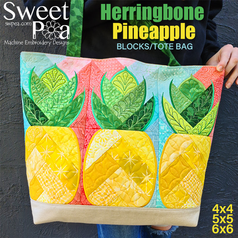 Herringbone Pineapple Blocks/Tote Bag 4x4 5x5 6x6