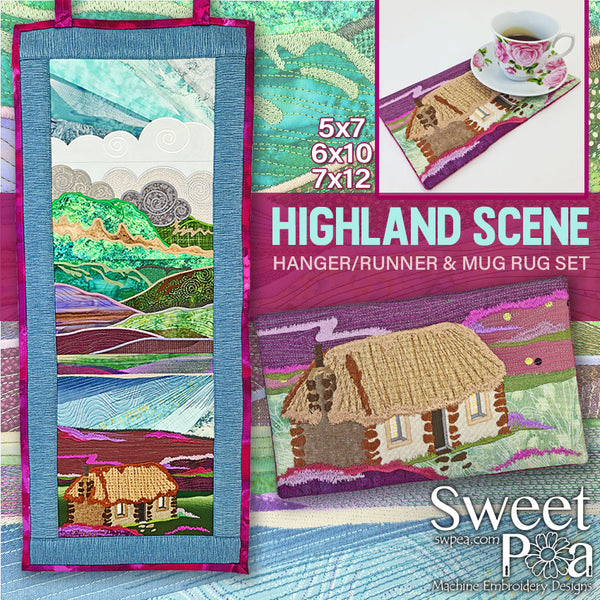 Highland Scene Hanger or Runner & Mug Rug Set