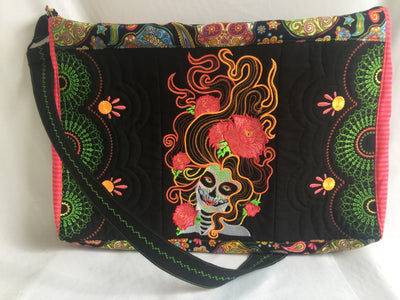 Day of the Dead laptop bag 5x7 6x10 7x12 in the hoop machine embroidery design