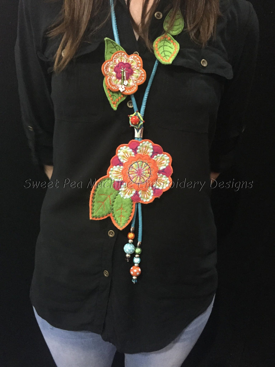 Felt flowers necklace 5x7 in the hoop machine embroidery design - Sweet Pea Machine Embroidery
