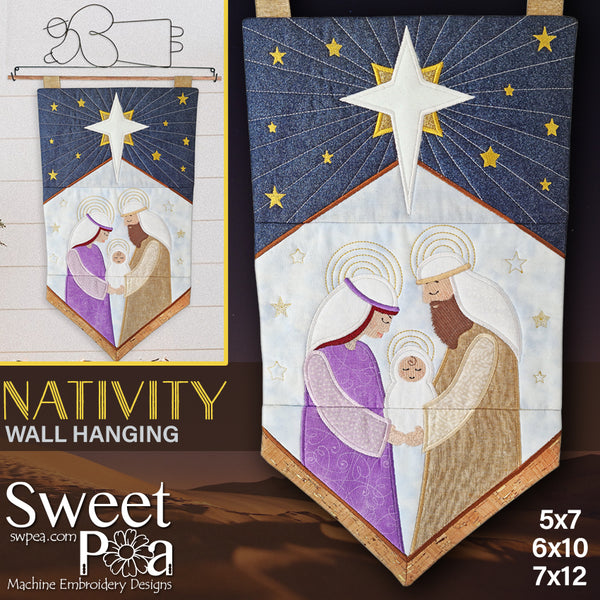 Nativity Wall Hanging 5x7 6x10 7x12