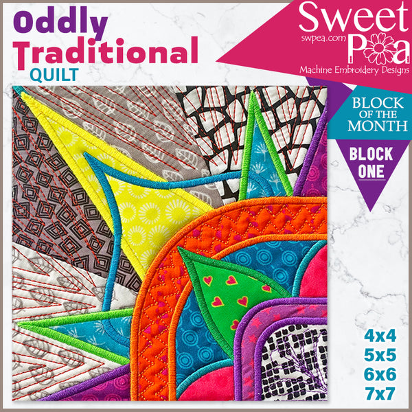 Oddly Traditional Quilt BOM Sew Along Quilt Block 1