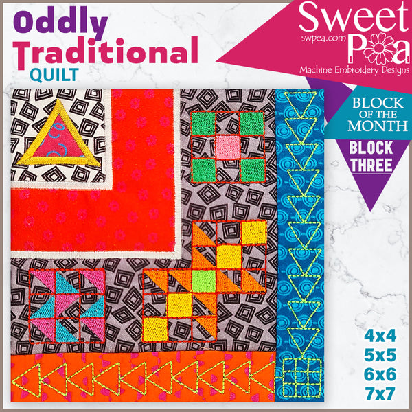Oddly Traditional Quilt BOM Sew Along Quilt Block 3