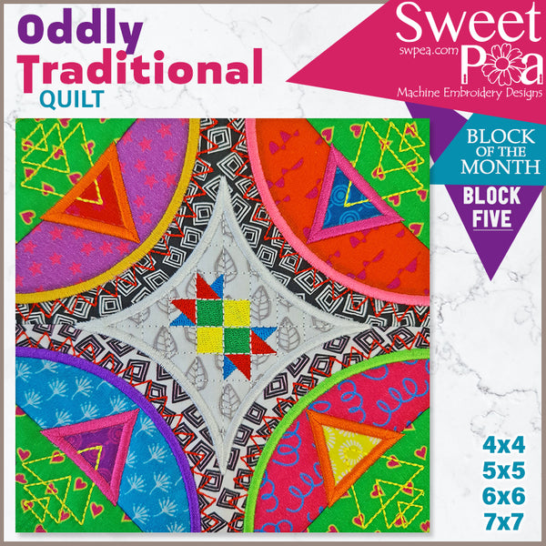 Oddly Traditional Quilt BOM Sew Along Quilt Block 5