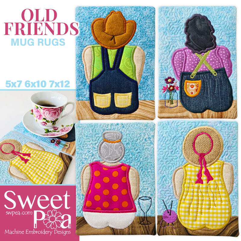 Old Friends Mug Rug Set 5x7 6x10 7x12