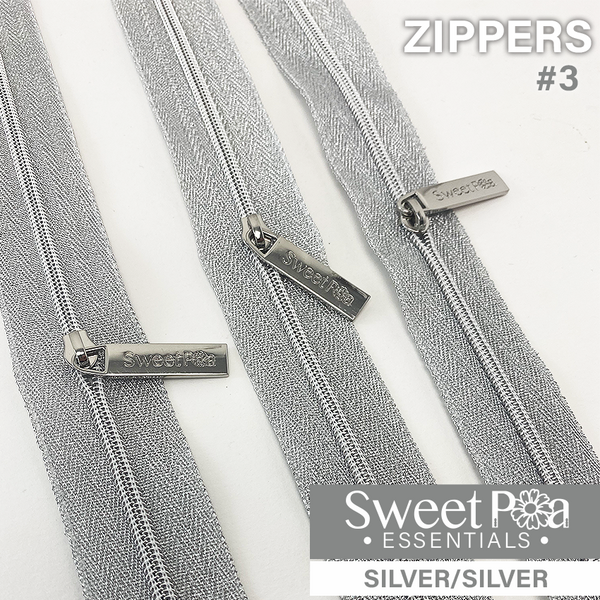 Sweet Pea #3 Zippers - SILVER/SILVER