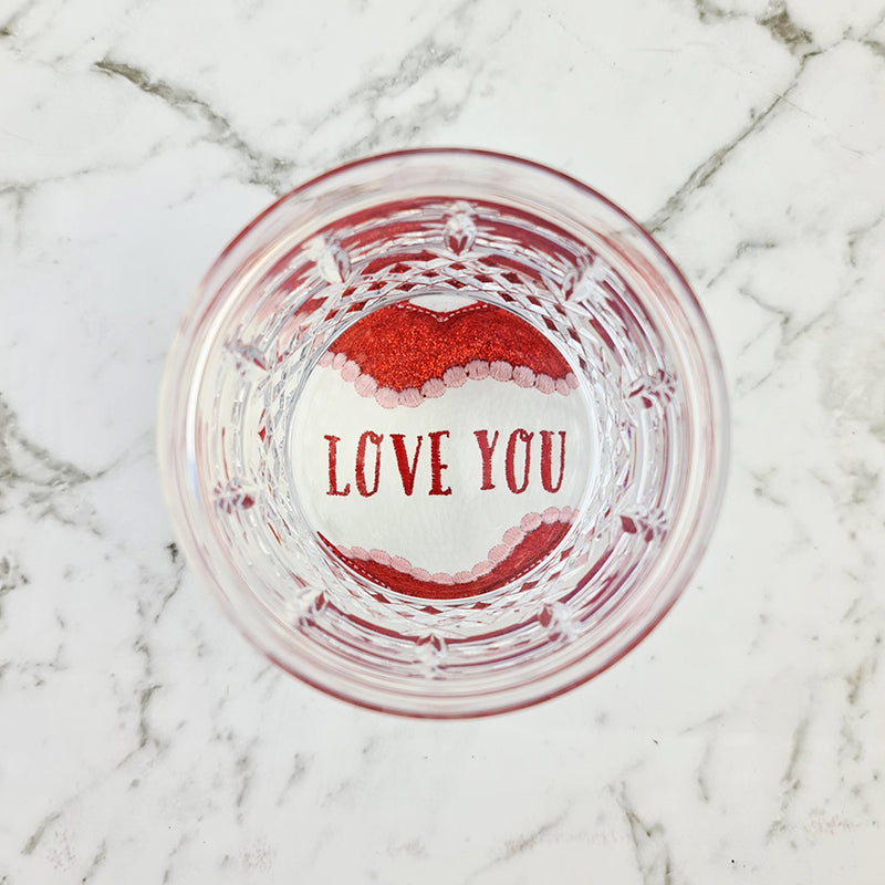 Free embroidery love heart coaster design