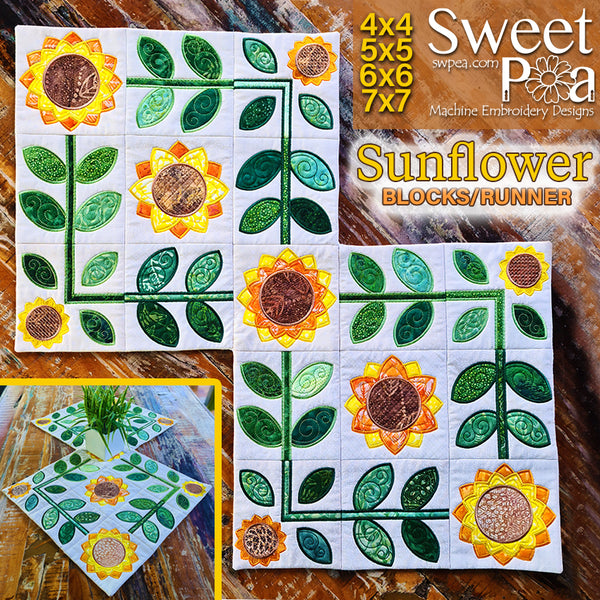 Sunflower Blocks / Runner 4x4 5x5 6x6 7x7