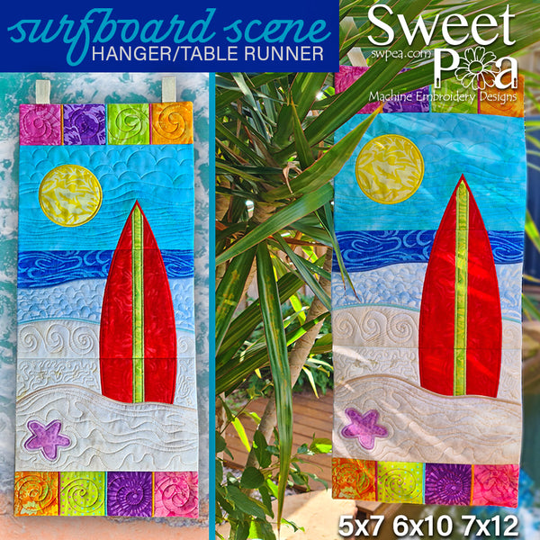 Surfboard Scene Hanger or Runner 5x7 6x10 7x12