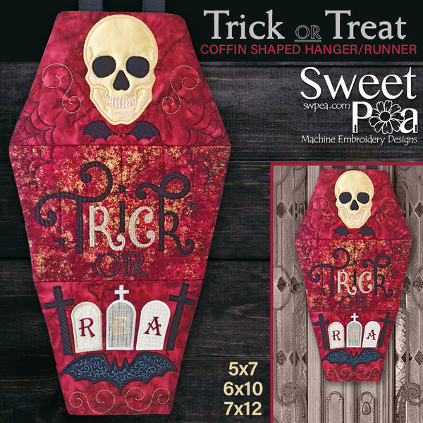 Trick or Treat Coffin Shaped Hanger/Runner 5x7 6x10 7x12