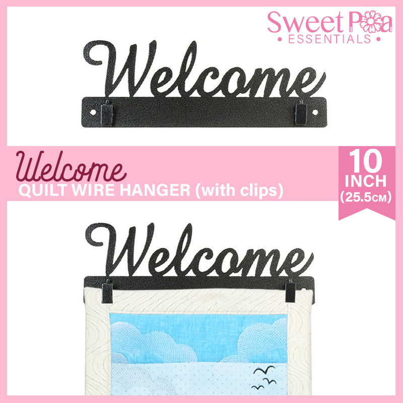 Welcome Quilt Wire Hanger 10in with Clips