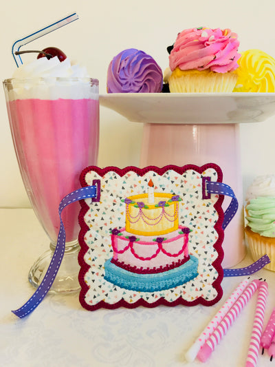 Birthday Cake Bunting add on 4x4 5x5 6x6 In The Hoop Machine Embroidery Design - Sweet Pea Machine Embroidery