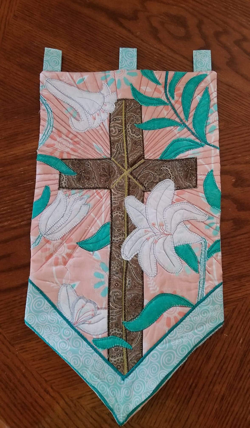 Cross and Lilies Applique & Wall Hanging Pattern - Sew Sweet Pea
