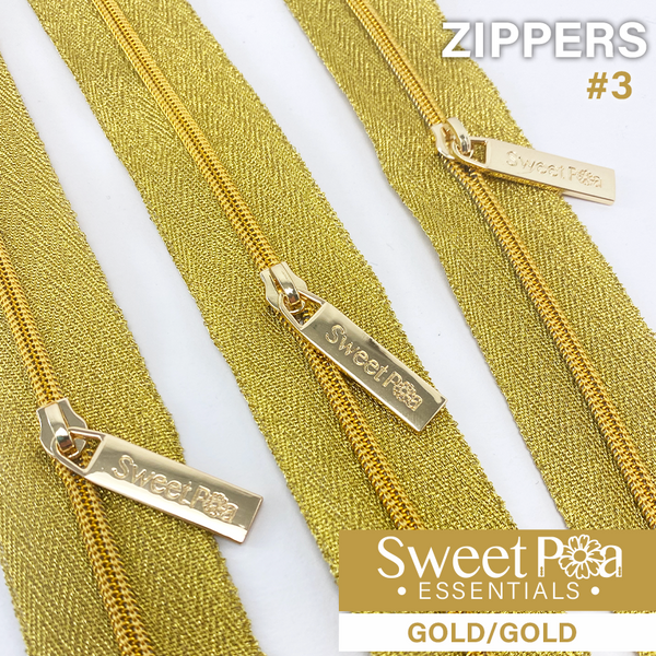 Sweet Pea #3 Zippers - GOLD/GOLD