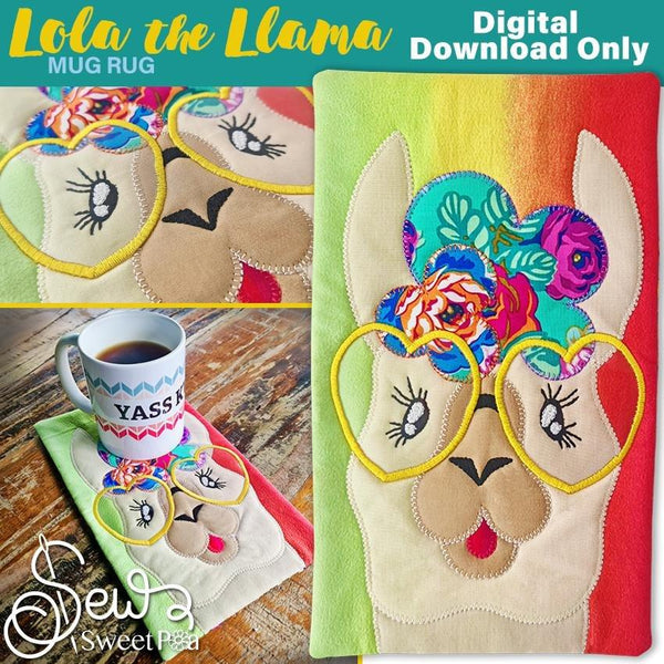 Lola the Llama Applique and Mugrug Sewing Pattern. - Sew Sweet Pea