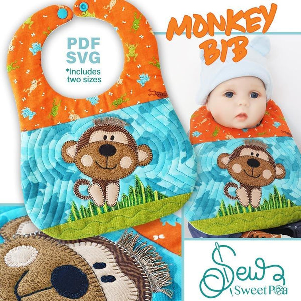 Monkey Bib Pattern and Applique - Sew Sweet Pea