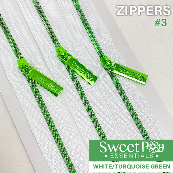 Sweet Pea #3 Zippers - WHITE/TURQUOISE GREEN