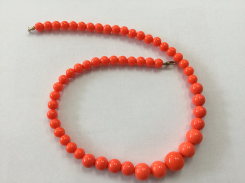 Coral Gumball Bead Necklace