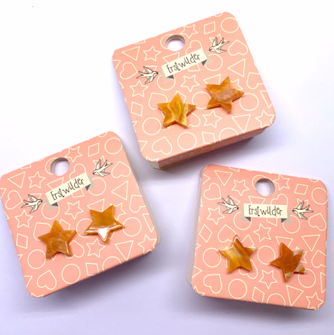 Star Marble Stud Earrings - Orange
