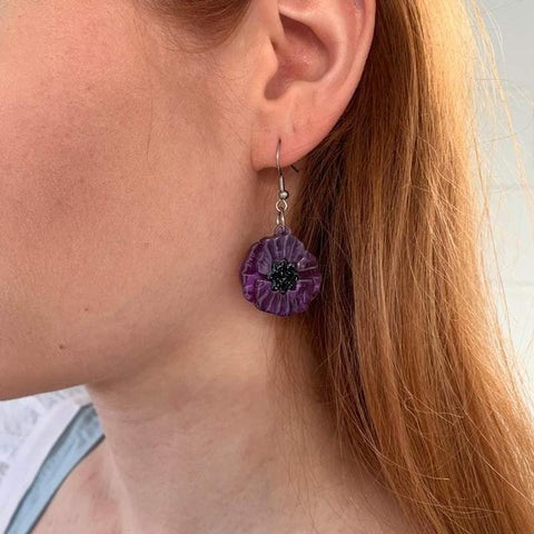 Poppy Field Drop Earrings - Purple