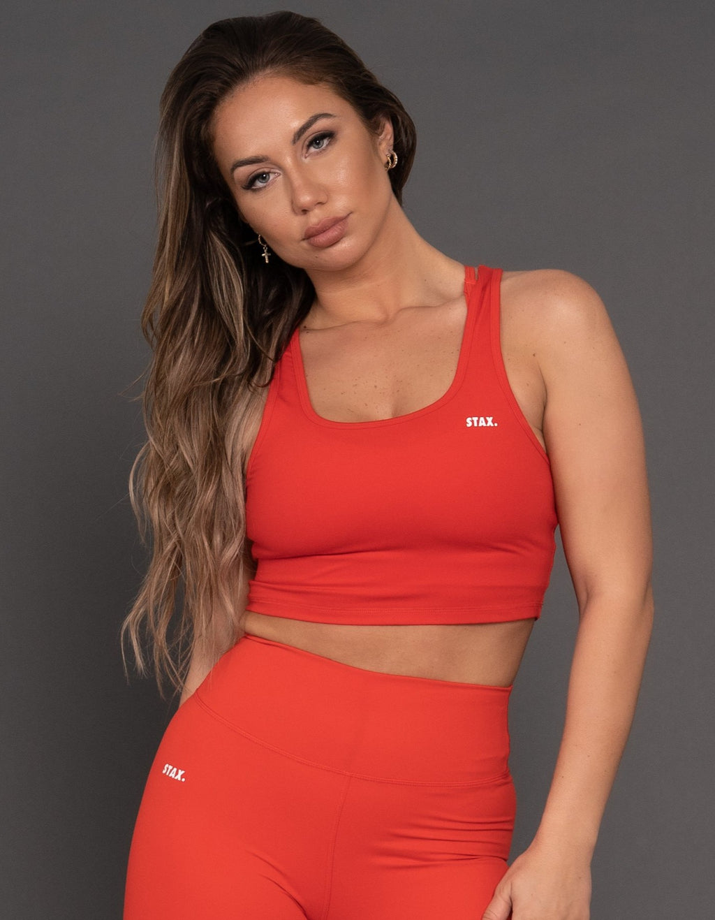 STAX. BB V2 Cropped Tank - Red