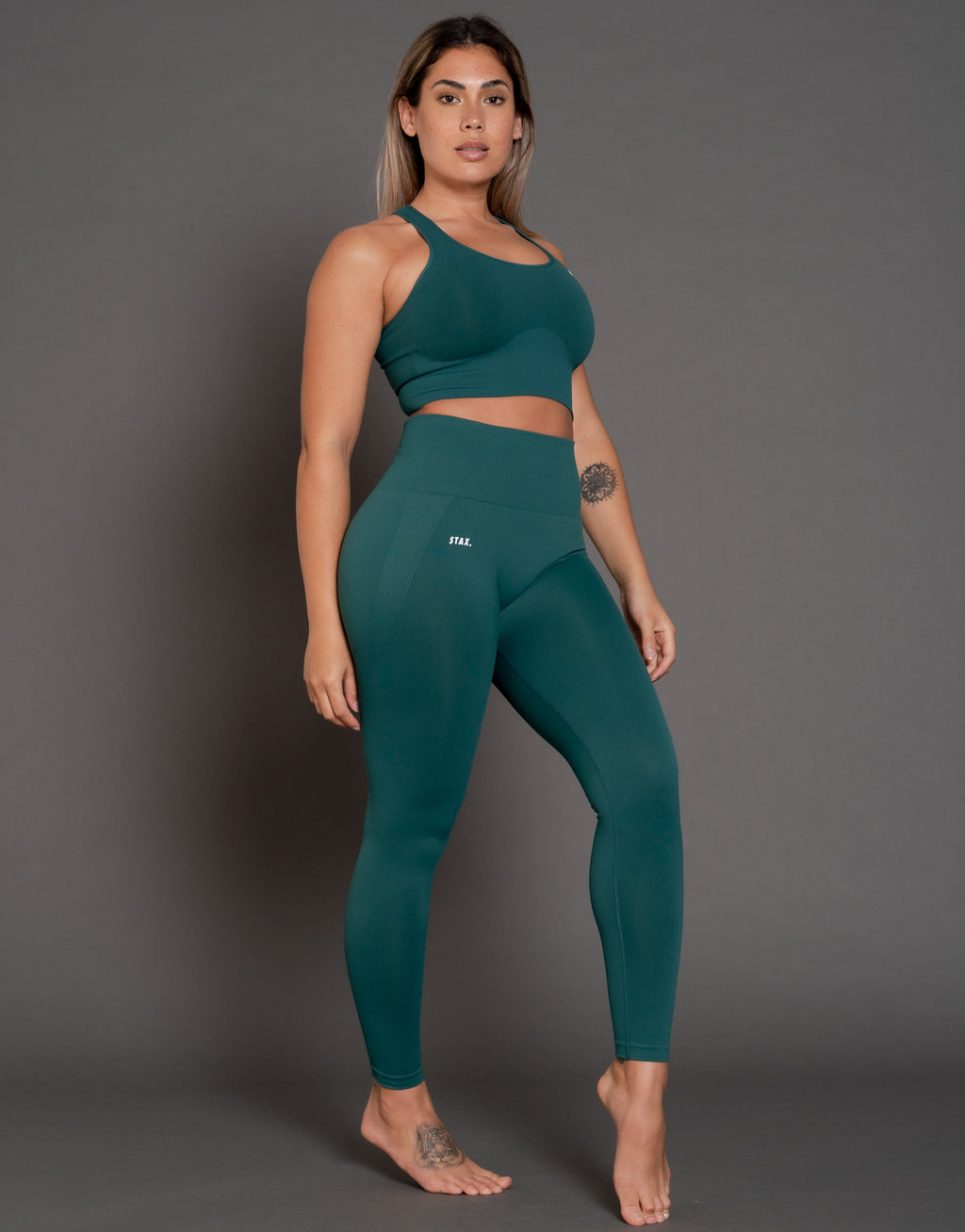 STAX. Premium Seamless V3 Full Length Tights - Jade (Green)