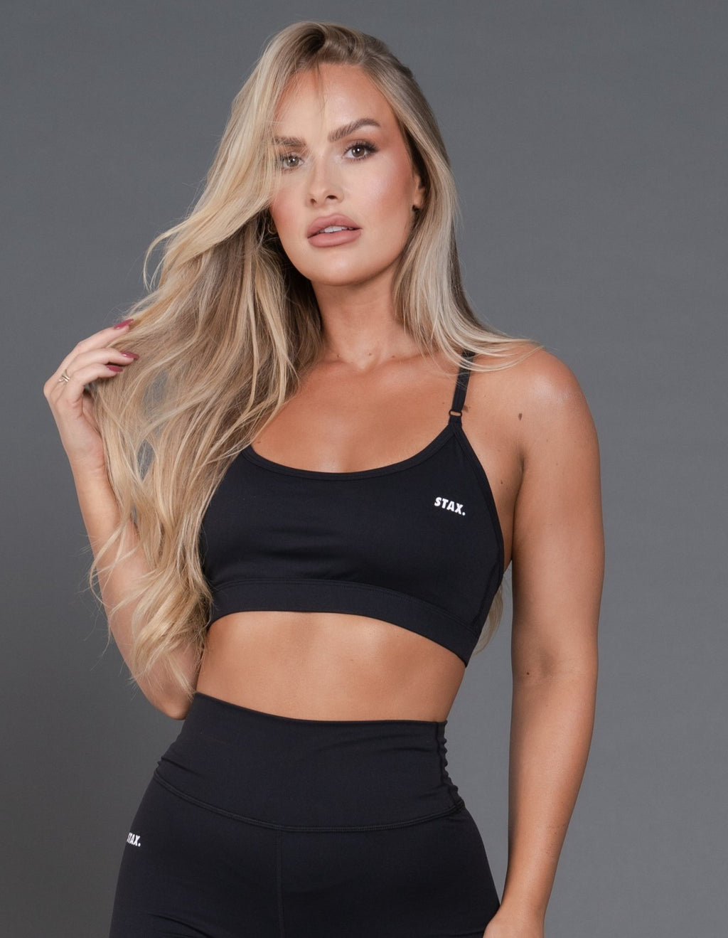 STAX. Best Black Strappy Crop - Black