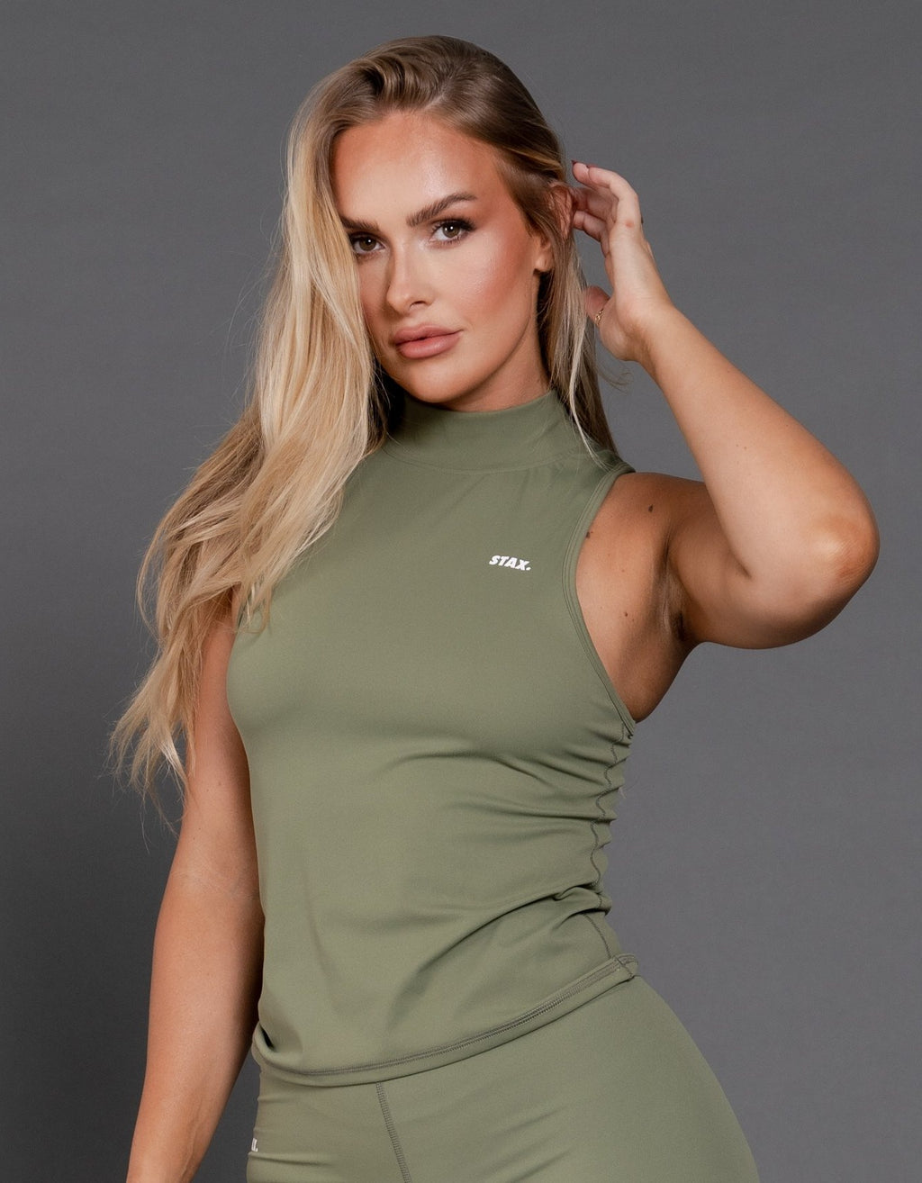 STAX. BB High Neck Body Tank - Khaki