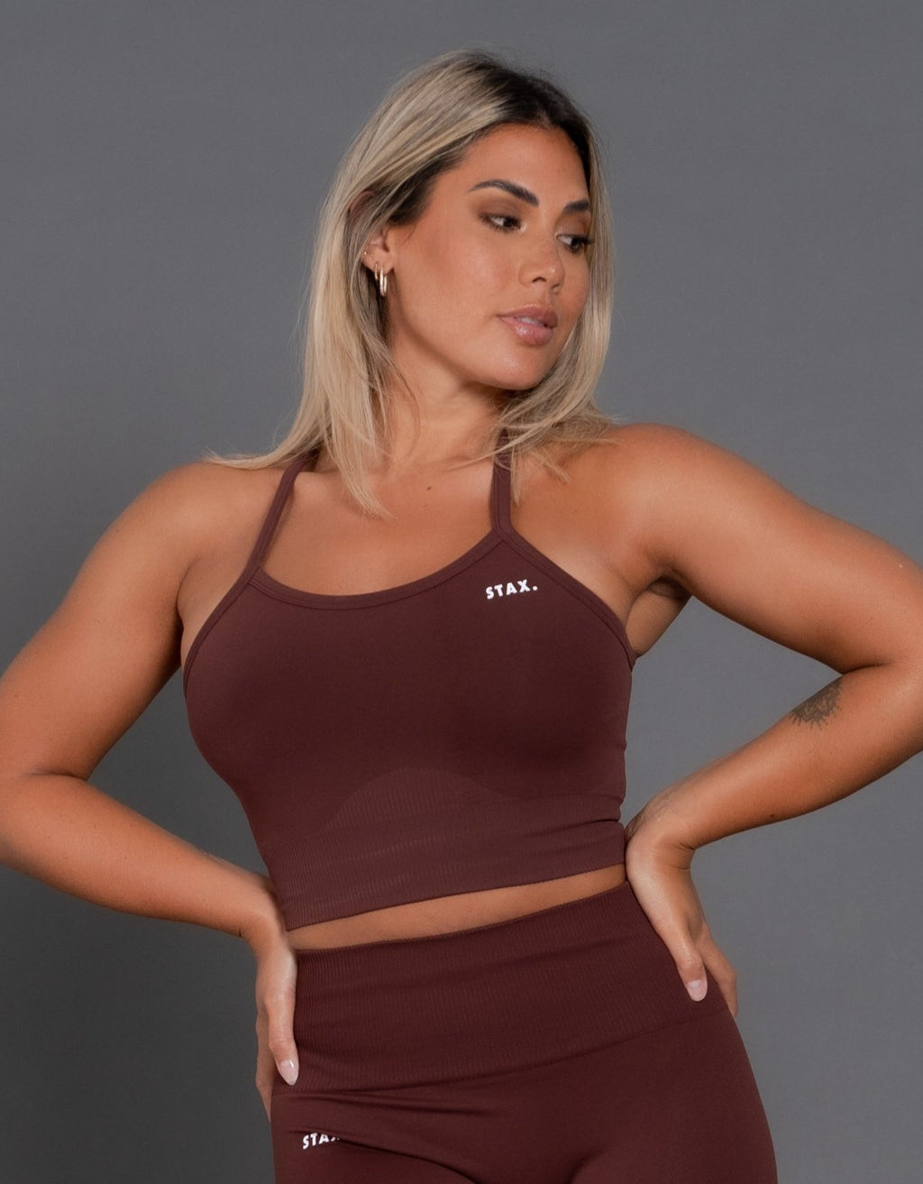 STAX. Premium Seamless V2 Strappy Crop - Umber