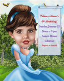 Cinderella Invitation - custom cartoon invitation card drawn from photo / Cinderella Invite personalized / Princess Cinderella Birthday Card