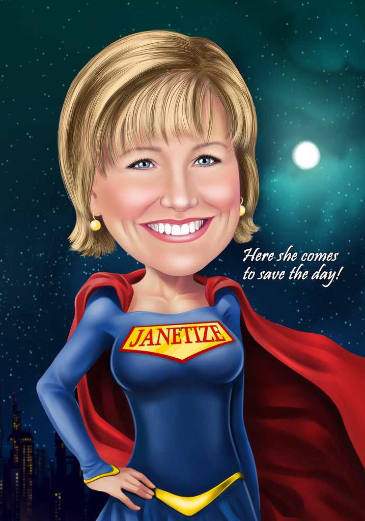 Super Mom Gift - Portrait from your photo / super wife gift / sister superhero gift / mom superhero gift
