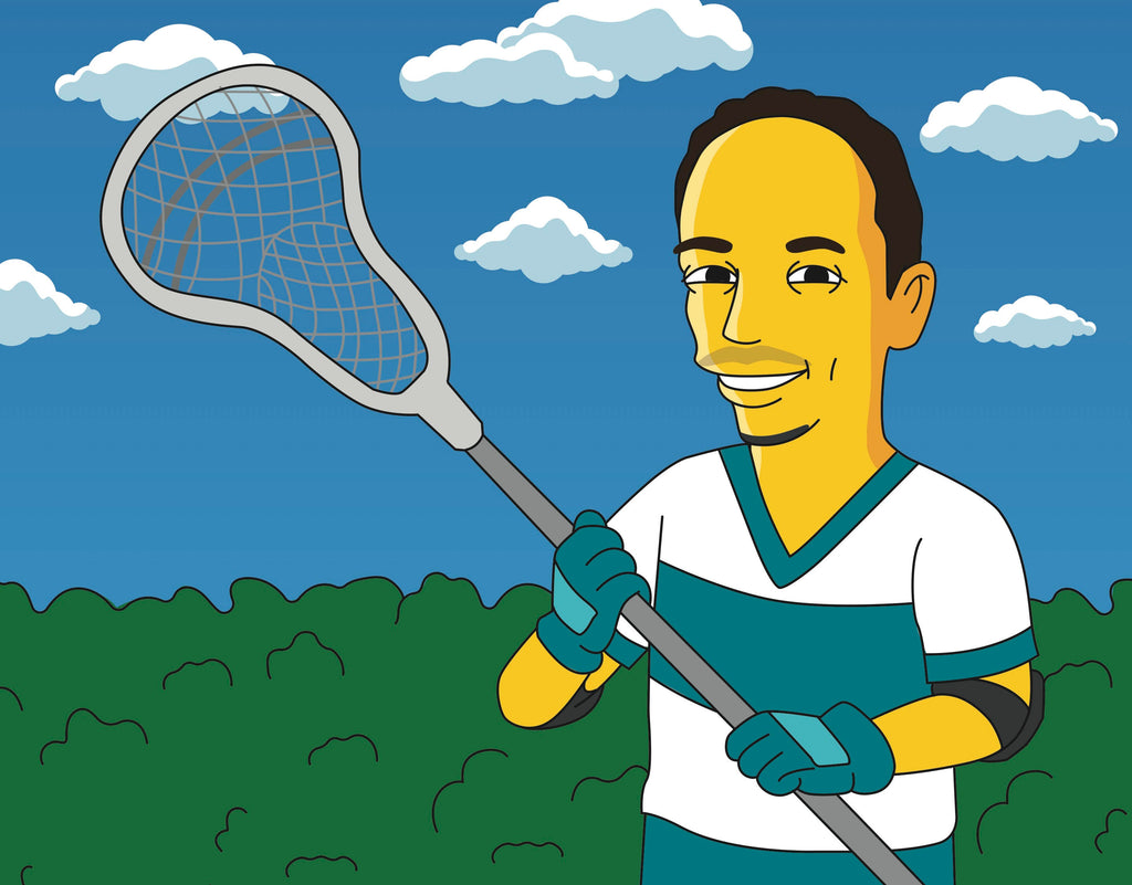 Lacrosse Coach Gift  - Custom Portrait from Photo as Yellow Cartoon Character / coach gift lacrosse / lacrosse dad gift / lacrosse coach dad