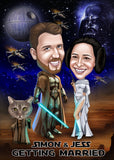 Han and Leia portrait personalized from your Photo / princess leia and luke skywalker gifts / caricature gift  / space gifts for him