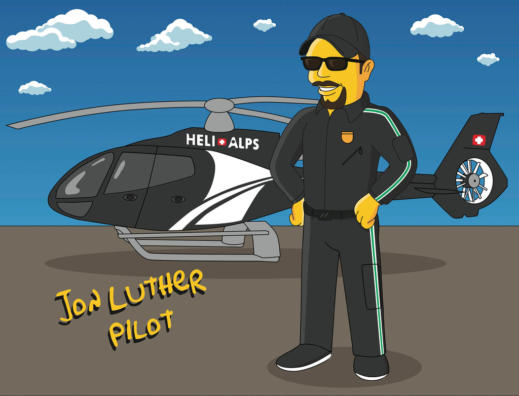 Helicopter Pilot Gift - Custom Portrait from Photo as Yellow Character / coast guard helicopter pilot / ambulance helicopter pilot