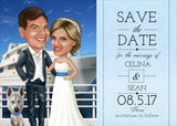 Save The Date Beach CARICATURE card / Save The Date Destination Wedding / Destination Save The Date / Tropical Save The Date