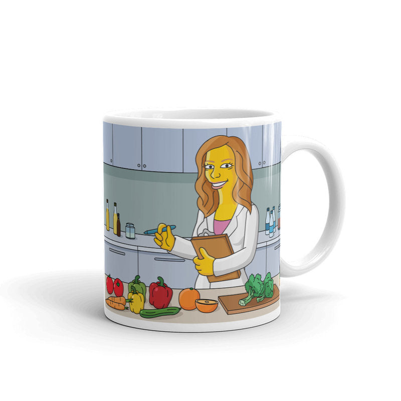 Dietitian specialist or nutritionist coffee mug with portrait as yellow cartoon character, dietitian mug, dietician mug, nutritionist mug