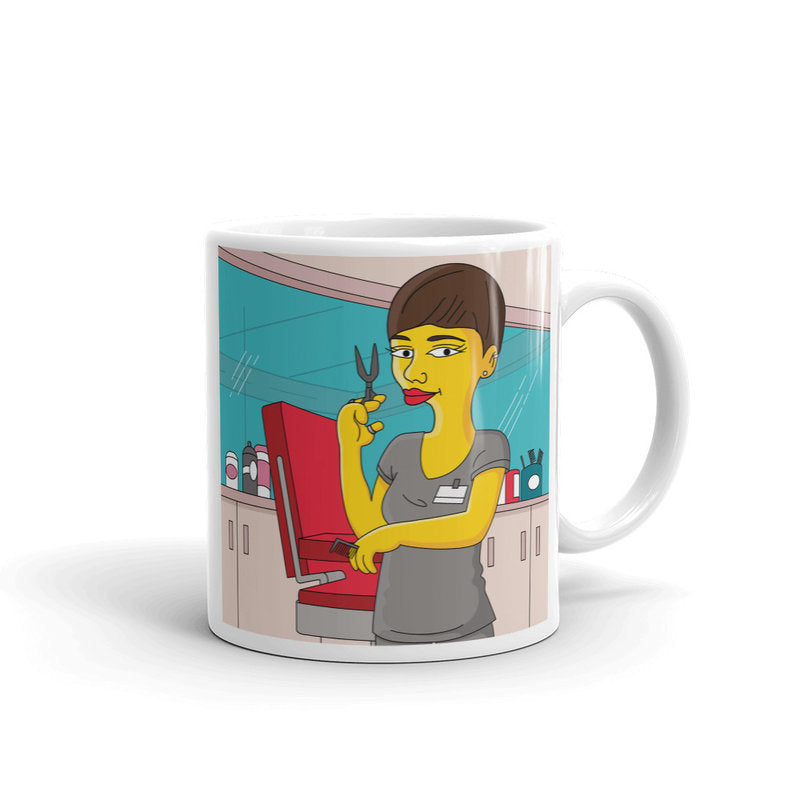 Hairdresser coffee mug with custom portrait as yellow cartoon character, Hairdresser mug, Hairstylist mug, beautician mug, Hair stylist mug