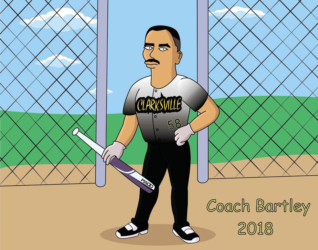 Baseball Coach Gift  - Custom Cartoon Portrait / Coach Gift Baseball / baseball team gifts / baseball dad gift / baseball coach gift ideas