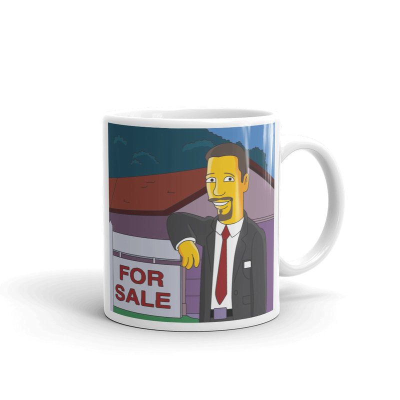 Real estate agent portrait mug as cartoon character, custom real estate mug broker closing gift, broker thank you gift, loan officer gift