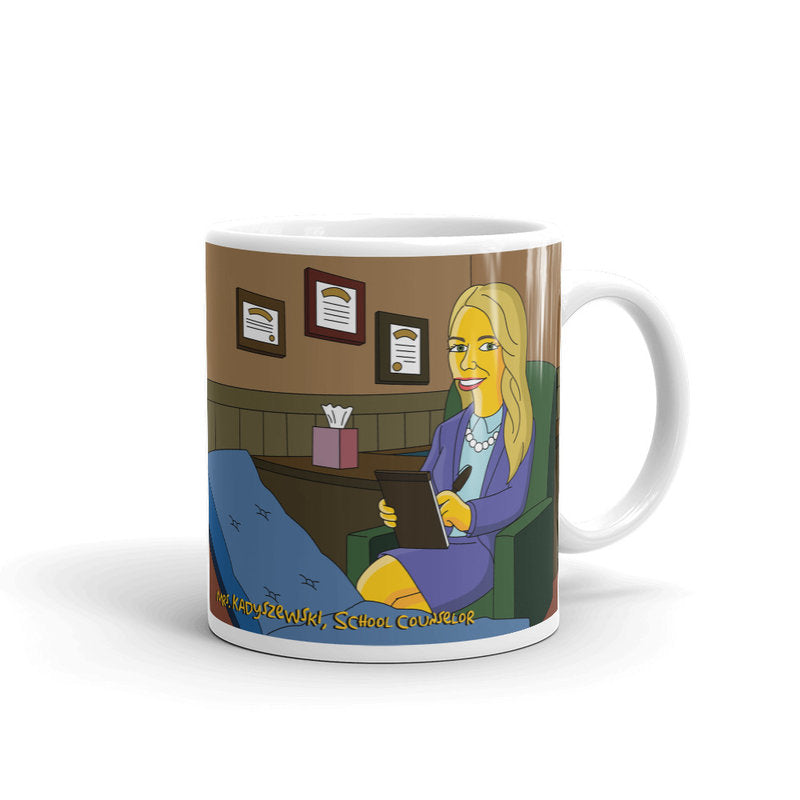 Psychologist mug with cartoon character portrait, psychology mug, psychotherapist mug, psychotherapy gift, psychology student /teacher gift