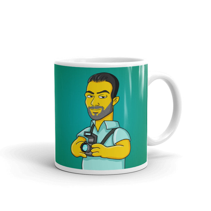 Photographer Mug - yellow cartoon character portrait printed on mug / custom photographer coffee mug